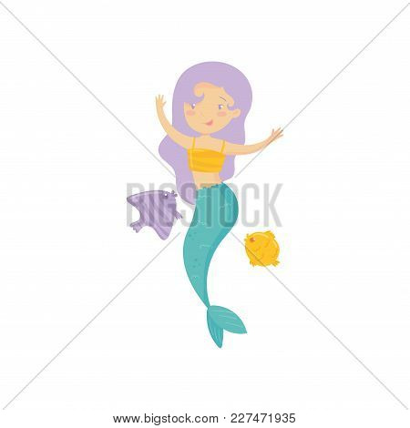 Cute Little Mermaid Swimming With Marine Creatures. Cartoon Girl With Purple Hair And Fish Tail. Fan