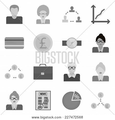 Business Icons Set. Web Monochrome Collection Of Work. Sign For Revenue.