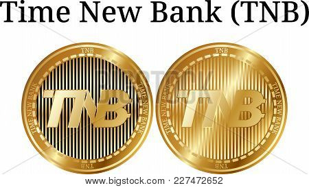 Set Of Physical Golden Coin Time New Bank (tnb), Digital Cryptocurrency. Time New Bank (tnb) Icon Se