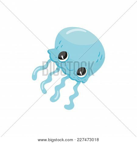 Cute Jellyfish With Big Shiny Eyes. Blue Aquatic Animal With Long Tentacles. Underwater Wildlife. Ca
