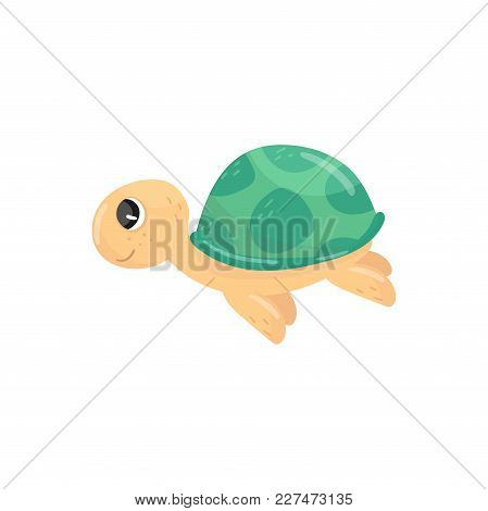 Icon Of Little Swimming Turtle. Adorable Marine Reptile. Cartoon Character Of Underwater Creature Wi