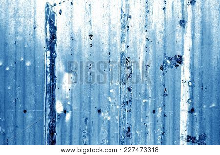 Grungy Metal Wall In Navy Blue Tone. Abstract Background And Texture.