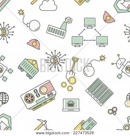 Bitcoin Mining Seamless Pattern. Vector Modern Thin Line Flat Style Design With Cryptocurrency Minin