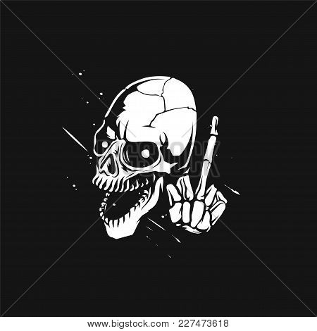 Sketch Of The Skullwith Middle Finger Vector Illustration Design.