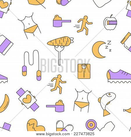 Sport Food Seamless Pattern. Vector Modern Thin Line Flat Design. Healthy Lifestyle, Weight Loss, Di