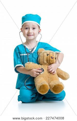 Adorable Child With Clothes Of Doctor Isolated On White Background