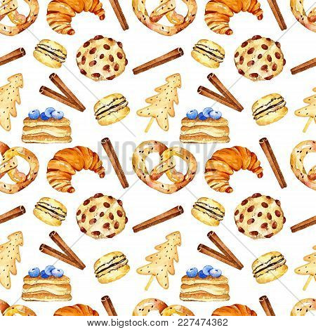 Watercolor yummy seamless pattern. Pattern with biscuit, croissant, bretzel, macaron, pancakes, cinnamon. Perfect for your postcard design,invitations,projects,wedding card,poster,packaging. poster