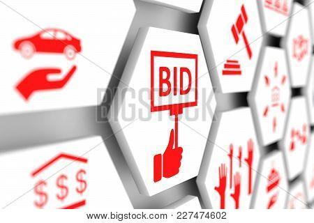 Bid Concept Cell Blurred Background 3d Illustration