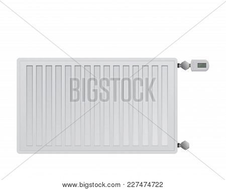 Steel Panel Radiator On White Background Vector Illustration. Electronic Thermal Head With A Display