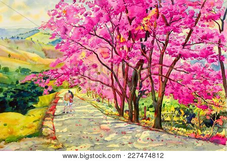Painting Watercolor Landscape Original Pink Red Color Of Wild Himalayan Cherry,and Lovers Woman, Boy