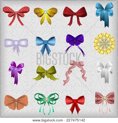 Ornate Multi-colored Bows On A Gray Background