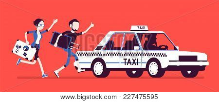 Chasing A Taxi Cab. Young Black Man And Woman With Luggage In A Hurry Running To Get A Car, City Pub