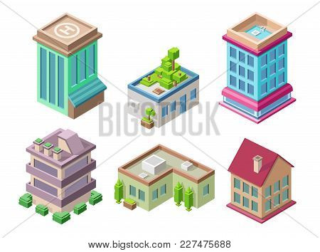Isometric Residential Buildings And City Houses Vector Illustration 3d Architecture Objects For Cons
