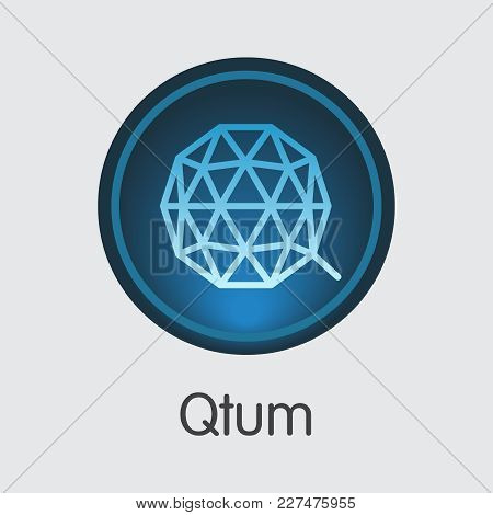 Qtum: Blockchain Based Secure Blockchain Cryptocurrency. Isolated On Grey Qtum Vector Logo.