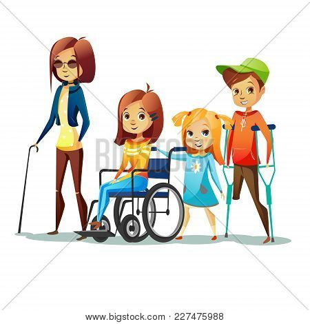 Handicapped Children With Disabilities Vector Illustration. Disabled Girl In Wheelchair And Blind Wo