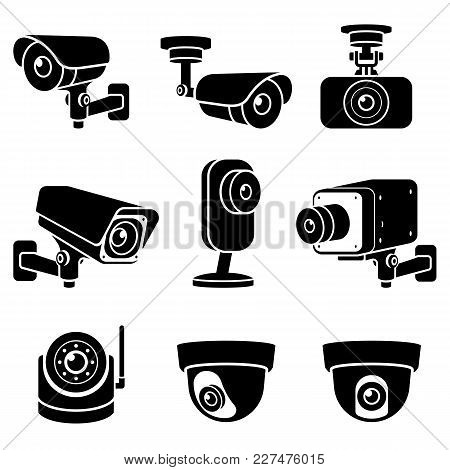 Cctv Camera Black Icons Set. Vector Illustrations.