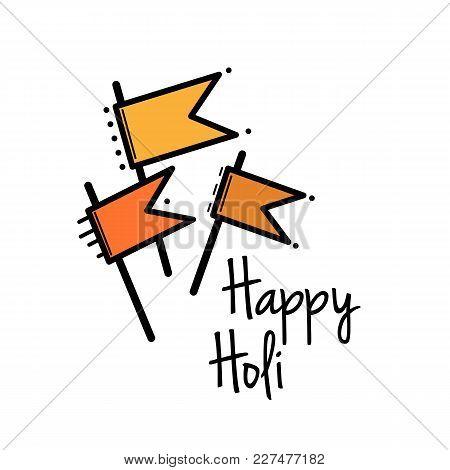 Vector Flat Illustration Of Set Of Holi Color Element
