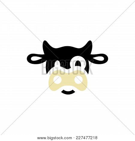 Funny Cow Head Logo Template. Funny Smiling Sad Cow Face For Dairy Products Beef Logo Design Of Agri