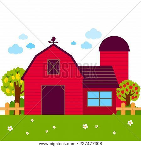 Landscape With Barn, Farmhouse, Fence And Orchard Trees. Vector Illustration