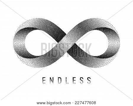 Stippled Endless Sign. Mobius Strip Symbol. Vector Textured Illustration On White Background.