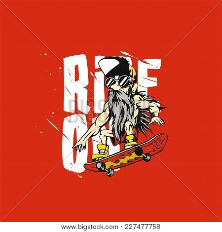 Competetive Emotional Cool Grandpa Stunt On Red Background With Typography Vector Illustration Desig