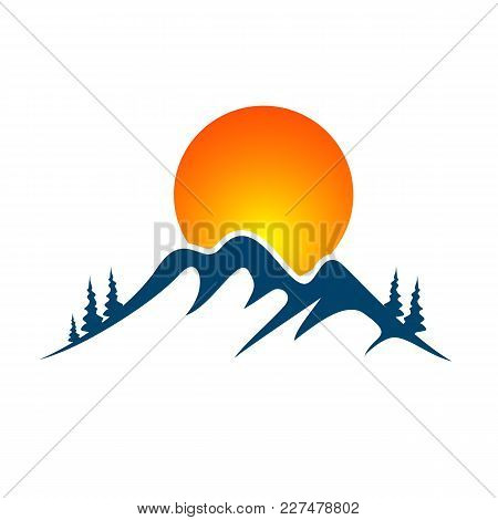 Mountain With Ice In, Can Be Used As Logo. Vector Illustration.