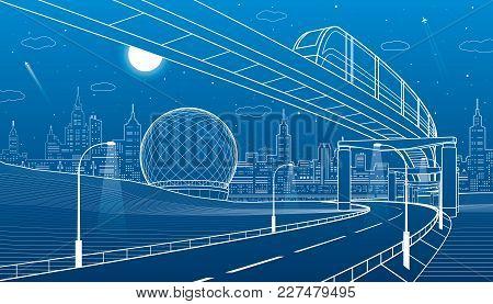 Monorail Railway. Illuminated Highway. Transportation Urban Illustration. Skyline Modern City At Bac