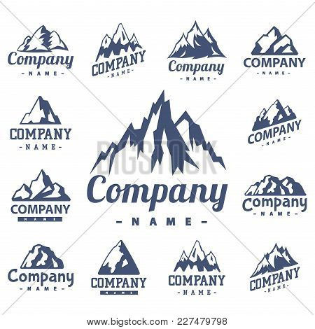 Mountain Vector Silhouette Nature Outdoor Rocky Snow Ice Top Decorative Landscape Camping Logo Trave