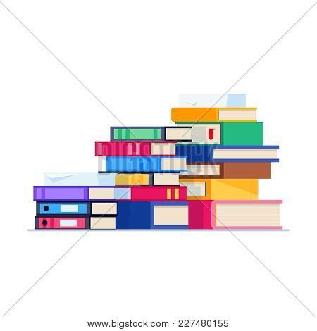 Stack Of Office Folders Isolated On White Background. Pile Of Folders For Papers In A Flat Style. Pa