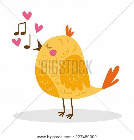 Little Orange Yellow Bird Singing A Song Cute Cartoon Character Object Icon Isolated On White Backgr