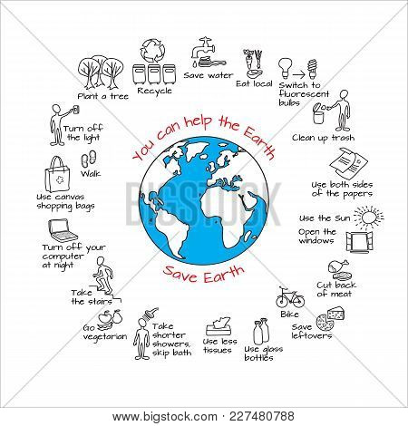 You Can Help The Earth. Save Planet. Ecology Infographics. Hand Drawn  Vector Illustration. Doodle E