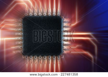 Close-up Of Electronic Circuit Board Chip, Chipset,