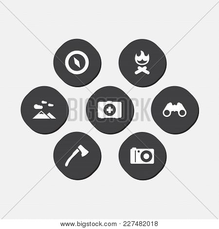 Set Of 7 Camping Icons Set. Collection Of Magnet Navigatior, Wood Axe, Optical Zoom And Other Elemen
