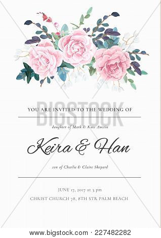 Fresh And Light Wedding Invitation With A Bouquet Of Roses, Leaves And Spring Plants. Elegant Vertic