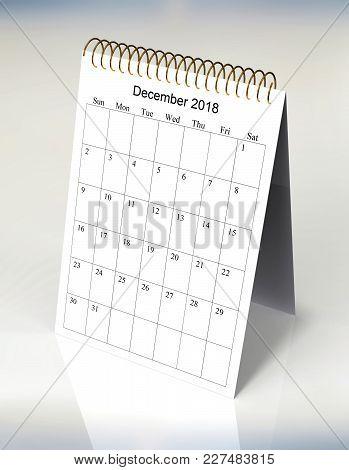The Original Calendar For December, 2018.  The Beginning Of Week - Sunday