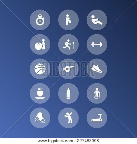 Set Of 15 Training Icons Set. Collection Of Pills, Stopwatch, Jump Training And Other Elements.