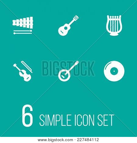 Set Of 6 Melody Icons Set. Collection Of Acoustic, Banjo, Fiddle And Other Elements.