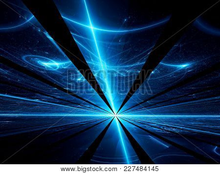Perspective Fractal Background - Futuristic Night Way With Rays Of Light. Abstract Computer-generate