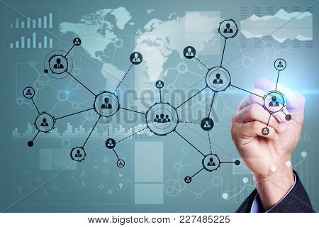 People Icons Structure Social Network. Hr. Human Resources Management. Business Internet And Technol