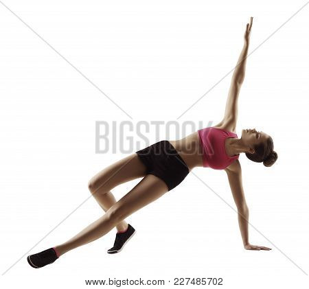 Sport Woman Fitness Plank Exercise, Aerobics Workout, People Isolated On White Background