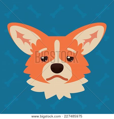 Corgi Dog Emotional Head. Vector Illustration Of Cute Dog In Flat Style Shows Depressed Emotion. Tir