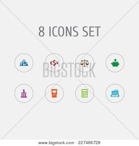 Set Of 8 Budget Icons Set. Collection Of Terminal, Piggy Bank, Building And Other Elements.