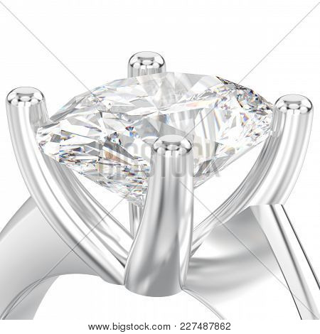 3d Illustration Isolated Close Up White Gold Or Silver Engagement Illusion Twisted Ring With Diamond