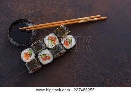 Japanese Sushi Roll With Soy Sauce. Top View Copy Space For Restaurant Menu