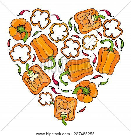 Heart Of Orange Bell Peppers. Whal Pepper, Half Of Sweet Paprika, Cuts. Fresh Ripe Raw Vegetables. H