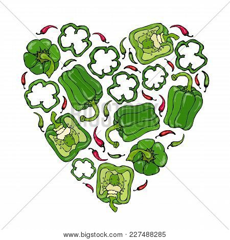 Heart Of Green Bell Peppers. Whal Pepper, Half Of Sweet Paprika, Cuts. Fresh Ripe Raw Vegetables. He