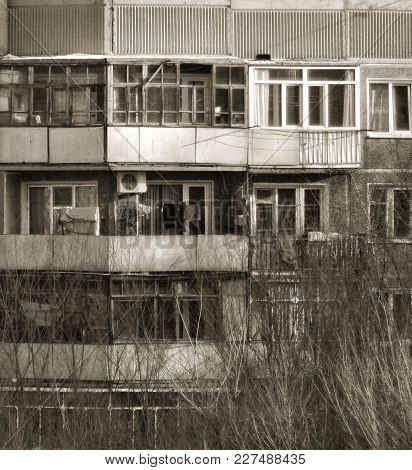 Soviet Built Multistory Apartment Building. Black And White. Vintage Style. Soviet Architecture. Bui