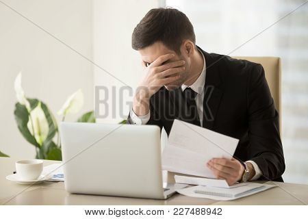 Businessman Shocked With Bad News In Letter, Upset Because Of Loan Refusal, Feeling Suppressed When