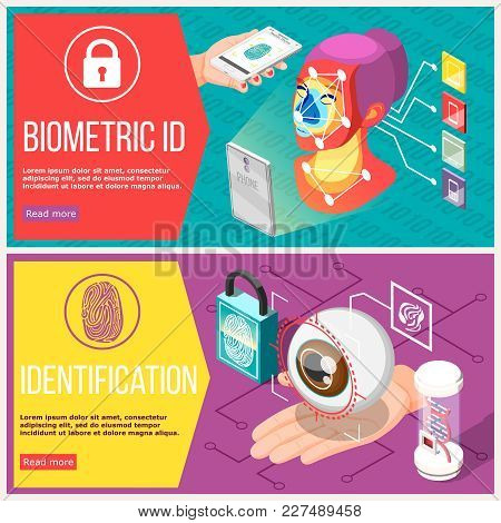 Biometric Id Horizontal Banners With Retina Recognition, Access Control By Facial Geometry And Finge