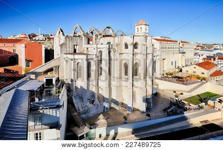 Carmo Convent In A Lisbon, Portugal At Day